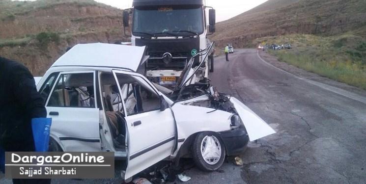 تصادف پراید با تریلر در جاده درگز قوچان ۳ کشته بر جای گذاشت