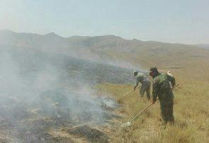 مهار آتش سوزی مراتع گنداب توسط نیروهای منابع طبیعی درگز