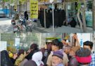 حضور مردم درگز بدون رعایت فاصله گذاری اجتماعی مقابل دفتر پیشخوان برای گرفتن سیم کارت رایگان جهت وام یک میلیونی درگز