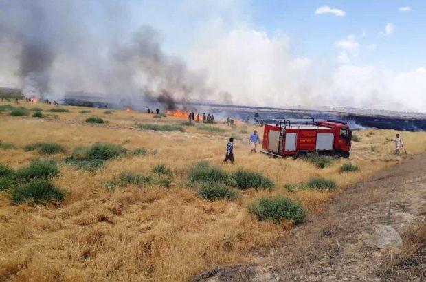 آتش سوزی در نقطه صفر مرزی لطف آباد با ترکمنستان مهار شد